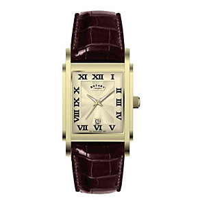 Rotary Men's Gold-Plated & Brown Strap Watch - Product number 8847878