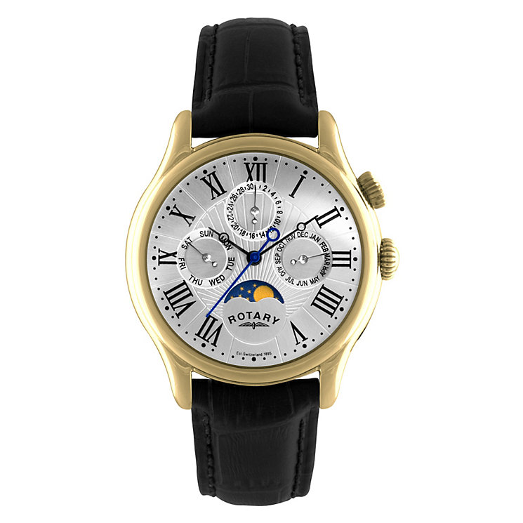 Rotary Men's Black Leather Strap Watch - Product number 8848823
