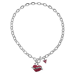 Guess Silver Plated Red Heart Necklet - Product number 8852170