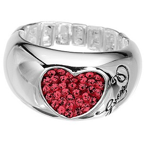 Guess Stretch Silver Plated Red Crystal Ring