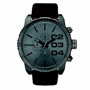 Diesel Mens Double Down Gunmetal Dial Brown Strap Watch - Product number 8852634