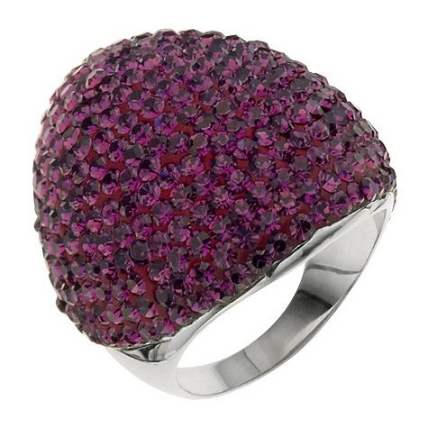 Silver large amethyst crystal ring.