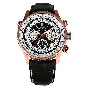 Rotary Men's Exclusive Black & Rose Gold Watch - Product number 8858446