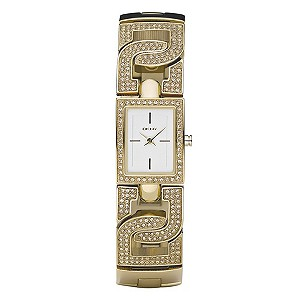 DKNY Ladies' Gold Plated Stone Set Bracelet Watch - Product number 8863679