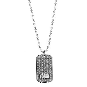 Police Stainless Steel Patterned Tag Necklace