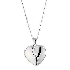 9ct White Gold Diamond Locket Necklace
