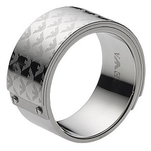 Emporio Armani men's silver logo ring - size U - Product number 8888256