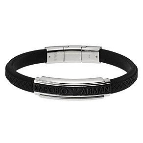 Emporio Armani men's black rubber bracelet - Product number 8888272