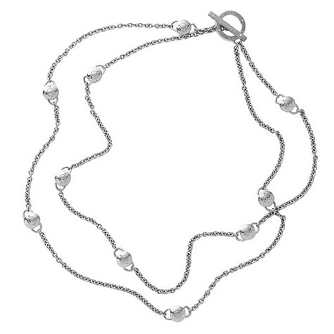 DKNY sterling silver double logo necklace
