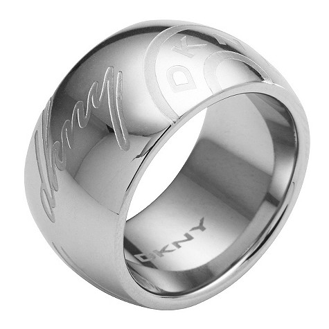 DKNY silver semi circle logo ring