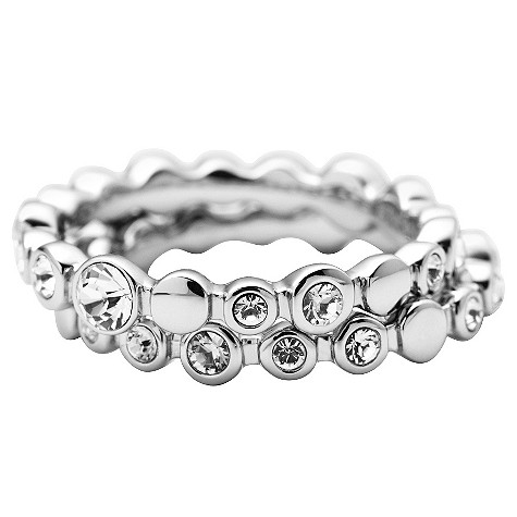 DKNY silver stone set stacker rings