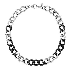 DKNY ladies' black ceramic and silver chain necklace - Product number 8888949
