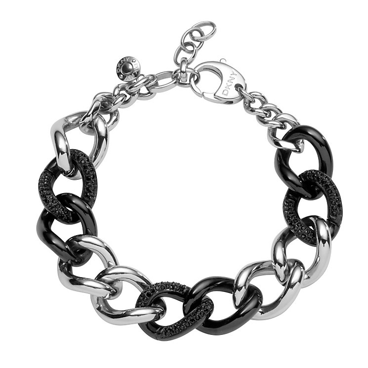 DKNY ladies' black ceramic and silver chain bracelet - Product number 8888957