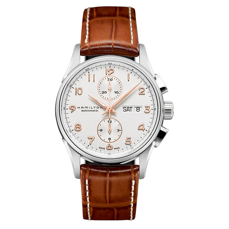 Hamilton men's brown leather strap watch - Product number 8890056