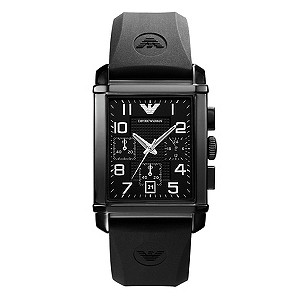 Emporio Armani black rubber strap watch