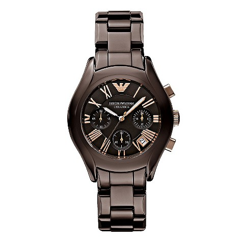 Emporio Armani men's brown ceramic bracelet watch