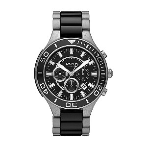 DKNY mens stainless steel & black ceramic bracelet watch