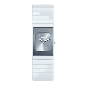 Rado Ceramic ladies' rectangular silver dial bracelet watch - Product number 8892806