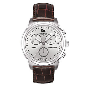 Men's Tissot brown leather strap watch - Product number 8893829