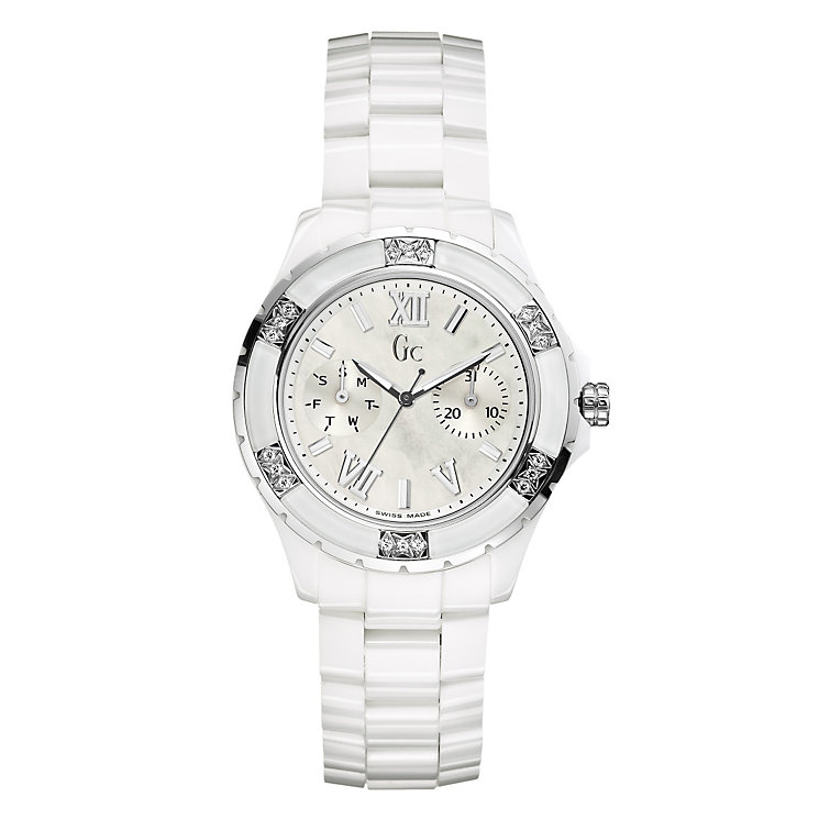 Gc ladies' diamond & white ceramic bracelet watch - Product number 8895864