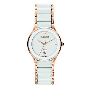 Roamer ladies' white ceramic rose gold bracelet watch - Product number 8905258