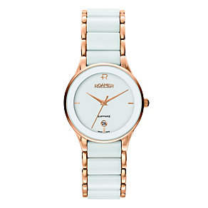 Roamer ladies' white ceramic rose gold bracelet watch - Product number 8905258