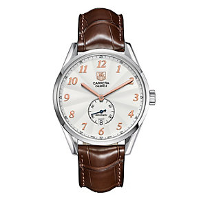 TAG Heuer Carrera men's brown leather strap watch - Product number 8908249