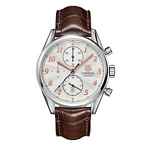 TAG Heuer Carrera automatic men's brown leather strap watch - Product number 8908443