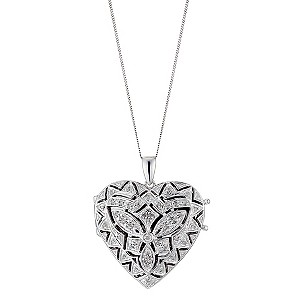 Sterling Silver Diamond Locket Necklace