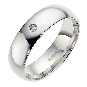 9ct White Gold Diamond Court Ring 6mm