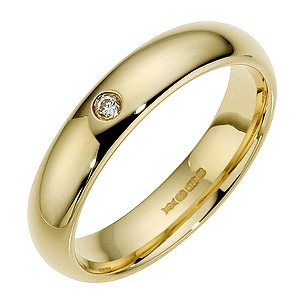 9ct Yellow Gold Diamond Court Ring 4mm