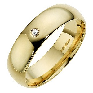 9ct Yellow Gold Diamond Court Ring 6mm