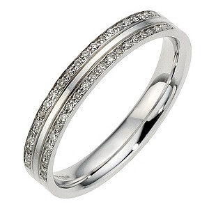 9ct White Gold 2 Row Pave Diamond Ring 3mm - Product number 8911770