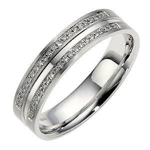 H Samuel 9ct White Gold 2 Row Pave Diamond Ring 5mm product image