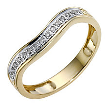 9ct Yellow Gold & Diamond Shaped Band - Product number 8912254