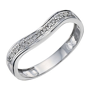 9ct White Gold Diamond Shaped Band - Product number 8912386