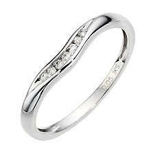 9ct White Gold Diamond Shaped Band - Product number 8912904