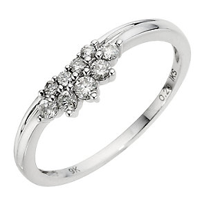 9ct White Gold Diamond Spray Band - Product number 8913641