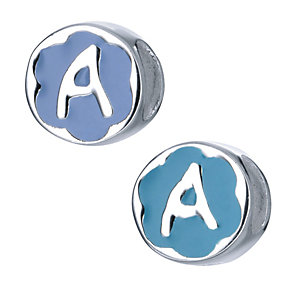 Children's Sterling Silver Enamel Letter A Bead - Product number 8916659