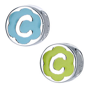 Children's Sterling Silver Enamel Letter C Bead - Product number 8916675