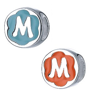 Children's Sterling Silver Enamel Letter M Bead - Product number 8916780