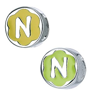 Children's Sterling Silver Enamel Letter N Bead - Product number 8916799