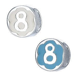 Children's Sterling Silver Enamel Number 8 Bead - Product number 8917027