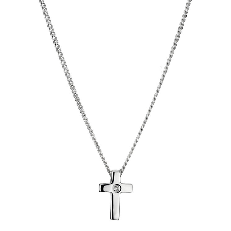 Children's Sterling Silver Diamond Cross Pendant - Product number 8920443