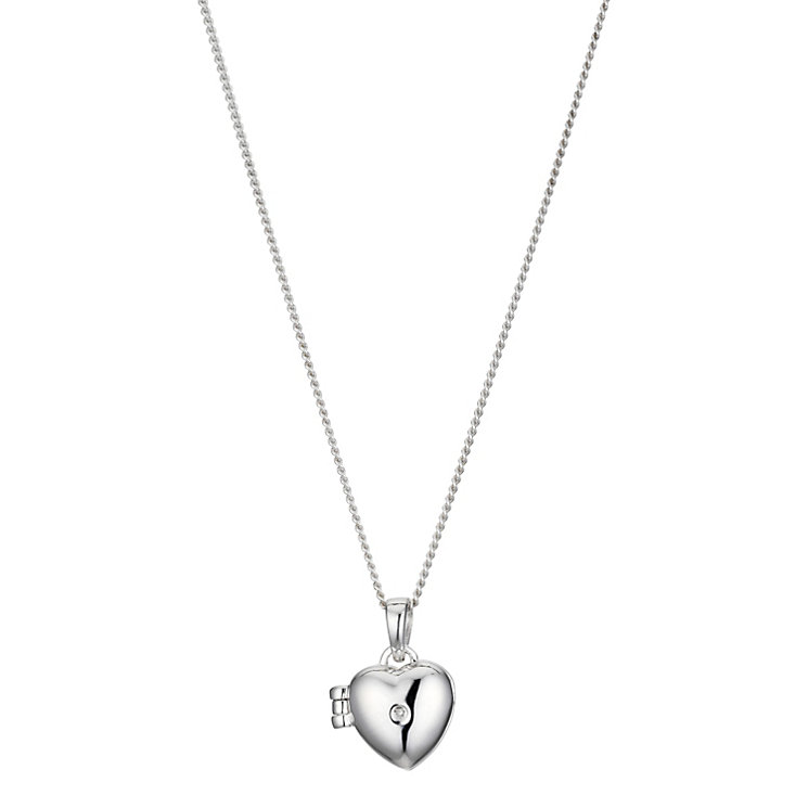 Children's Silver Diamond Heart Locket - Product number 8920478