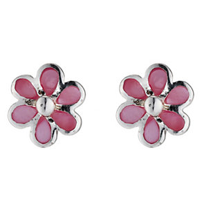 Children's Silver Pink Mother Of Pearl Stud Earrings - Product number 8920788