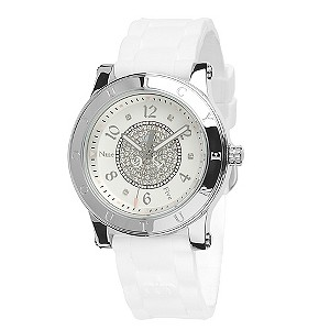 Juicy Couture ladies' white strap & pave stone set watch - Product number 8923825