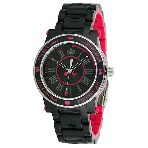 Juicy Couture HRH black and pink bracelet watch