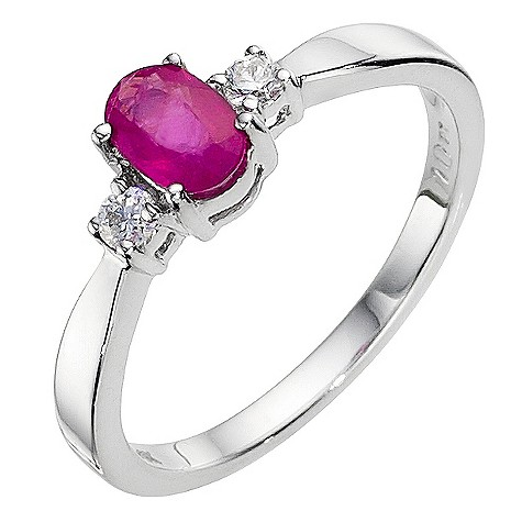 9ct white gold ruby cluster ring