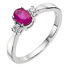 9ct white gold treated ruby cluster ring - Product number 8926220